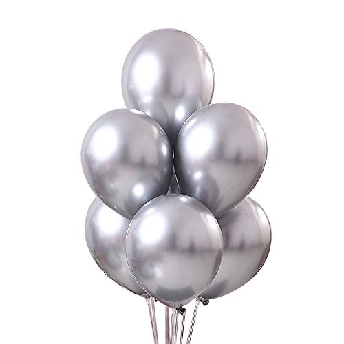 Juland 50 PCS Metallic Party Balloons 12'' Glossy Metal Pearl Latex Balloons Thick Pearly Chrome Alloy Inflatable Air Balloons for Birthdays, Bridal Shower - Silver