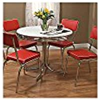 Target Marketing Systems 5 Piece Retro Dining Set with 4 Dining Chairs and 1 Round Dining Table, Red