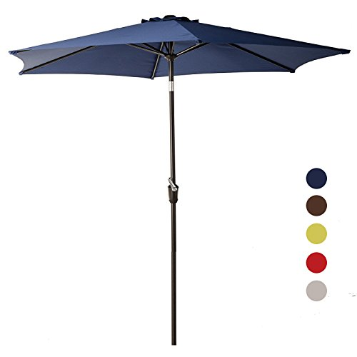 Grand Patio 9FT Aluminum Patio Umbrella, UV Protective Beach Umbrella with Push Button Tilt and Crank, Powder Coated Outdoor Umbrella, Blue (Sale Patio Tilting Umbrellas)