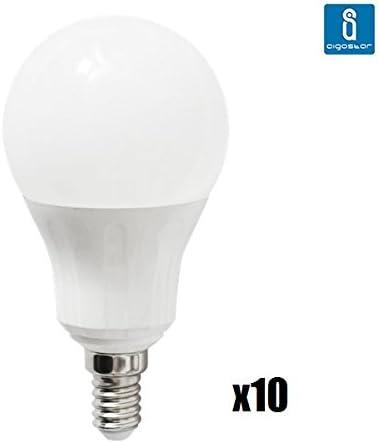Pack de 10 Bombillas LED A5 A55 esferica, 9W, casquillo fino E14, luz blanca 6400K: Amazon.es: Iluminación