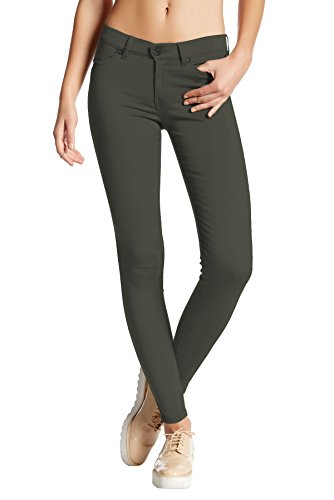 HyBrid & Company Womens Super Stretch Comfy Skinny Pants P44876SK Olive Medium ()