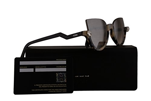 Fendi FF0138/S Sunglasses Havana Black w/Brown Silver Mirror Lens 52mm 000KU FF0138S FF 0138S FF - Polarized Fendi Sunglasses