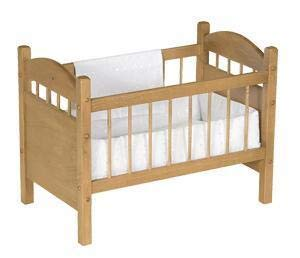 Eco-Friendly American Made Wooden Doll Crib (Harvest Stain, Bedding - White)