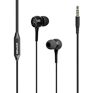 Promate In-Ear Headphones, Premium 3.5mm Stereo Wired Earphones with Built-In Microphones, Tangle Free Cord and Noise-Isolating Headset Control for iPhone X, Samsung Note 9, S9+, iPad, Bent Black