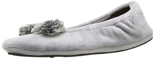 Dearfoams Women's Velour Ballerina Style Slipper – Plush Frosted Pile Bow and Sock Slipper with Memory Foam Insole