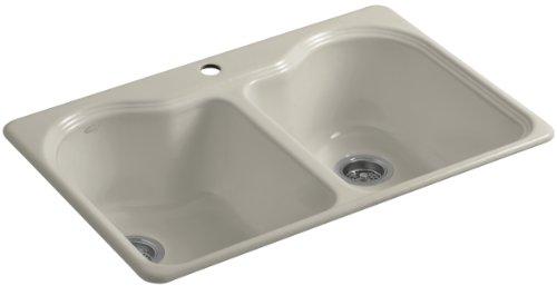 Kohler K-5818-1-G9 Hartland Self-Rimming Kitchen Sink with Single-Hole Faucet Drilling, Sandbar (Sink Kitchen G9 Sandbar)