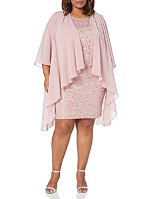 S.L. Fashions Women's Plus Size Chiffon Tier Jacket Dress with Bead Neck