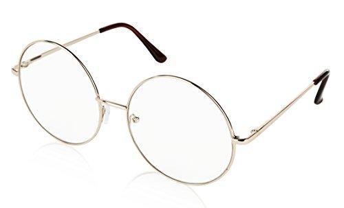Huge Round Lens Glasses Circular 60s 60's Janis Joplin Hippie Lady Large Gold 63