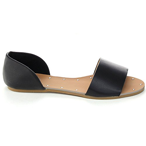 Betani Sonya-1 Dames Easy Slip Op Open Teen Dorsay Flats Sandalen Zwart