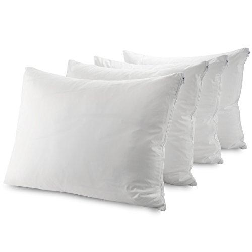 Mastertex Guardmax Bed Bug Pillow Protectors Standard 4 Pack | Waterproof Hypoallergenic Covers | Zippered Pillow Cases (Standard - 20x26 - Set of 4)