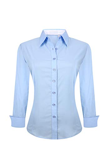 YCOOL Womens Button Down Shirts Long Sleeve Regular Fit Cotton Casual Blouse Top Blue L by YCOOL