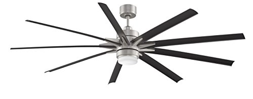 Fanimation FPD8149BNWBL Odyn Ceiling Fan with LED Light Kit and Remote, Wet rated, 84 inch, Brushed Nickel with Black Blades
