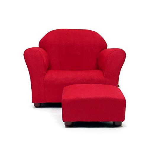 Keet Roundy Childrens Chair Microsuede with Ottoman, Red ()
