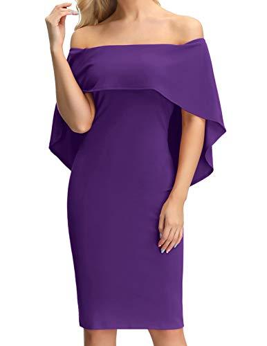 Women's Off The Shoulder Cocktail Dress Cape Midi Party Wedding Dress Purple L