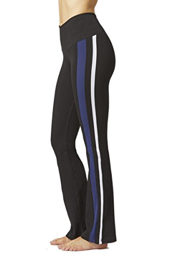 TLC Sport Womens Side Panel Stripe Pant Boot Cut Yoga Legging Bootleg Trousers-Long-4XL-Black