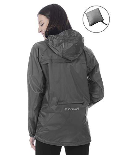(EZRUN Women's Waterproof Hooded Rain Jacket Windbreaker Lightweight Packable Rain Coats(Grey,m))