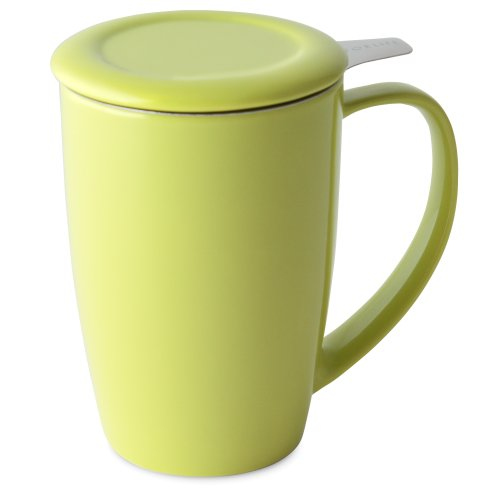 FORLIFE Curve Tall Tea Mug with Infuser and Lid 15 ounces, Lime
