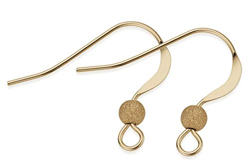 (5 Pairs, 10 Pieces 14K Gold Filled Flat Ear Wires With 3 mm Stardust)