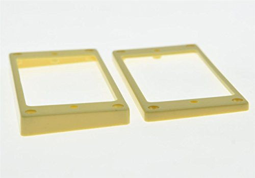 KAISH 2pcs Cream Humbucker Pickup Ring Flat Base Bottom Frame fits Epiphone LP Guitar (Rings Pickup Cream Humbucker)