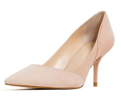Women's Patchwork Shoes Dress SUNROLAN Heels Pointed Maggie High Stiletto Peachpuff Pumps Toe Uq44a