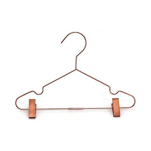 25Pack Koobay 13 Rose Gold Copper Shiny Metal Wire Clothes Hangers With Adjustable Clips for Shirts Coat Storage & Display