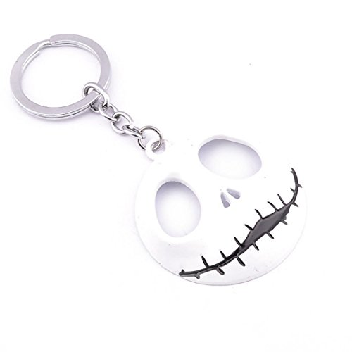 (Dan's Collectibles and More NBC Jack Skellington Head Keychain Nightmare Before Christmas Halloween Pumpkin King Chain White w/Gift Box by)