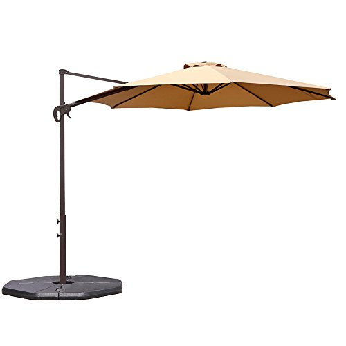 Le Papillon 10 ft Cantilever Umbrella Outdoor Offset Patio Umbrella Easy Open Lift 360 Degree Rotation, Beige