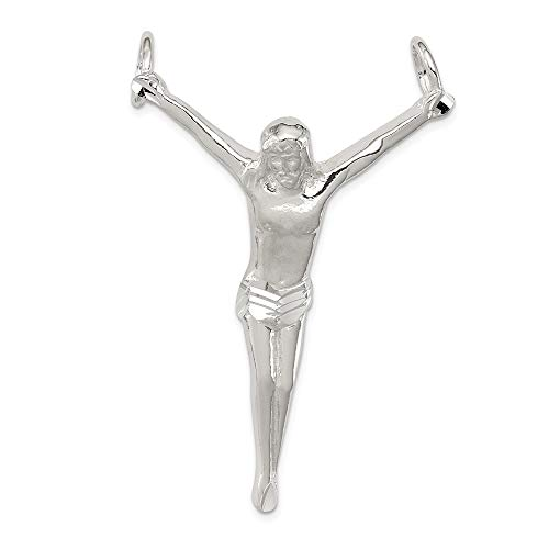 Corpus Crucified Christ Pendant - Sterling Silver Diamond-Cut Corpus (Crucified Christ) Charm Pendant (54X37MM)