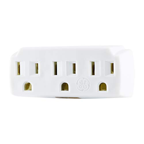 GE 3 Outlet Adapter Wall Tap, Grounded Outlets, Indoor Rated, 3 Prong, UL Listed, White, 52203