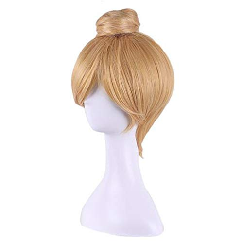 Tulas Anime Cos Wig Princess Bun Blonde Synthetic Hair Straight Short Cosplay Costume for Tinker Bell ()