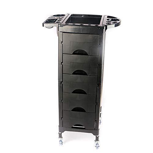 Beauty Storage Trolley Hairdresser Maintenance Carts Hairdressing Multi-Layer Drawer Tool Car Hair Salon Multi-Function Perm Hair Dyeing Equipment Cart Black by Beauty Storage Trolley (Image #7)