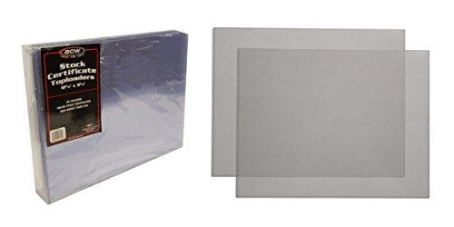 - (10) Stock Certificate Topload Holders - Rigid Plastic Sleeves - BCW Brand