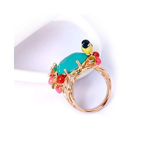 Yellow Bird Blue Crystal Cherry Rich Color Luxury Enamel Ring Women Fashion Charm Jewelry,Blue (Blue Ring Wonderland Enamel)