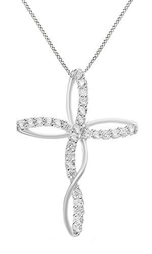 White Cubic Zirconia Infinity Cross Pendant Necklace In 14K White Gold Over Sterling Silver
