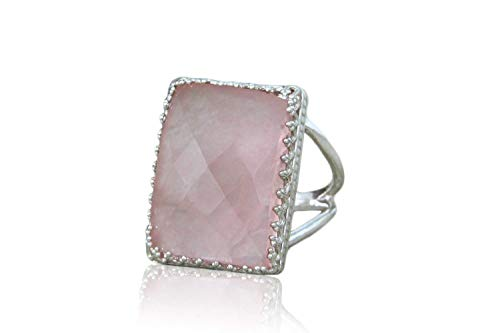 Quartz Elegant Ring - Anemone Elegant Rose Quartz Ring - 18x13mm Rose Quartz in 925 Sterling Silver - Skillfully Handmade Ring for Women - Love Jewelry, Everyday Jewelry, Jewelry for Special Occasion [Free Fancy Box]
