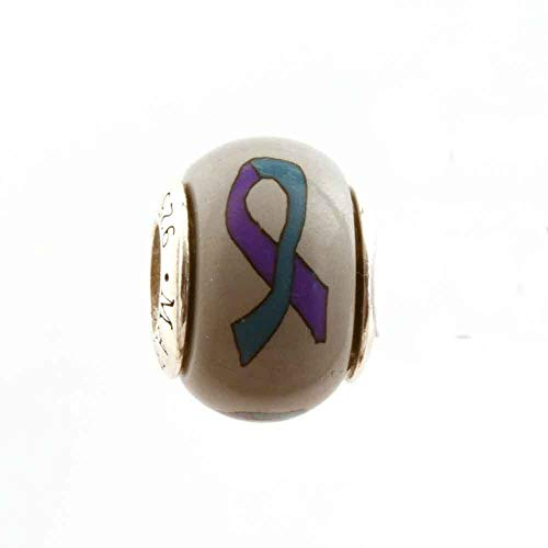 Suicide Prevention Awareness Ribbon Purple and Teal Bead Charm for Add-A-Bead Bracelets Clay & Sterling Silver by MAYselect ()