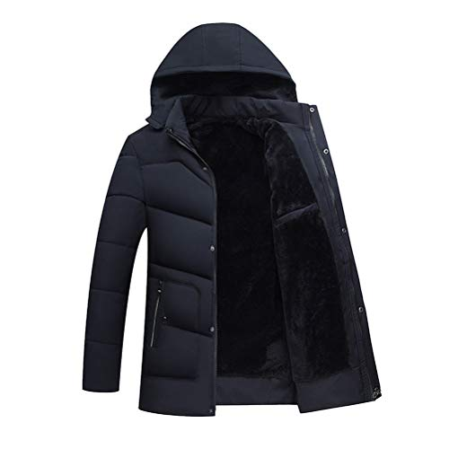 Hooded Outerwear Warm Cotton Winter Hooded Jacket Dark Coats BESBOMIG Zipper Thick Blue Mens Breathable Coat Solid w8Uv7qx7E