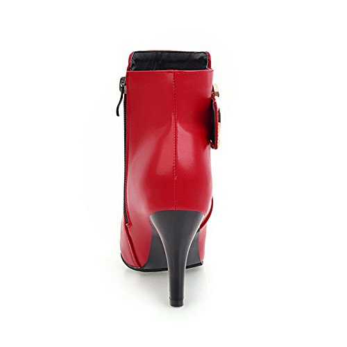 Stilettos BalaMasa Damen ABL10637 Rot Urethan aus Stiefel Spikes Knöchelhohe Knöchelhohe rq7xTqwt