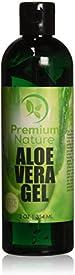 100% Organic Aloe Vera Gel for Face Body & Hair 12 oz Soothes & Rejuvenates Sun Burns Eczema, Insect Bites, Psoriasis, Rashes, Razor Bumps, Dry Skin, By Premium Nature