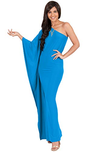 KOH KOH Plus Size Womens Long One Off The Shoulder Evening Cocktail Bridesmaid Wedding Guest Summer Formal Flowy Elegant Sexy Gown Gowns Maxi Dress Dresses for Women, Blue XL 14-16 (2)