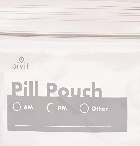 (Pivit Clear Resealable Travel Pill Organizer Pouches Medicine Bags with White Write-on Label | 100 Pack | 3