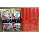 BOBA Black Tapioca Pearl Bubble Tea, 2 Pack (Each 8.8 OZ) + 1 Pack of 50 BOBA Straws (Variety Color)