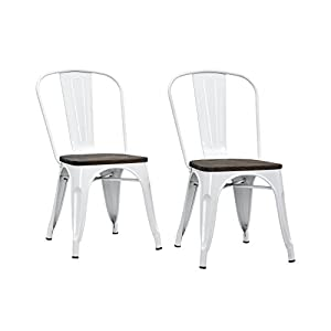 DHP Fusion Metal Dining Chair with Wood Seat, Distressed Metal Finish for Industrial Appeal, Set of two, White
