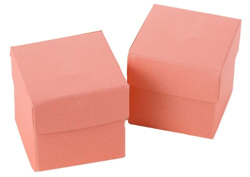 Hortense B. Hewitt Wedding Accessories 2-Piece Favor Boxes, Coral, Set of 25 (Piece Boxes Favor Two)