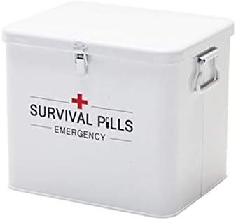 OLDJTK Caja De Almacenamiento Médico De Primeros Auxilios, Caja De Almacenamiento De Metal Vintage, con Doble Capa Y 4 Compartimentos (Color : White): Amazon.es: Hogar