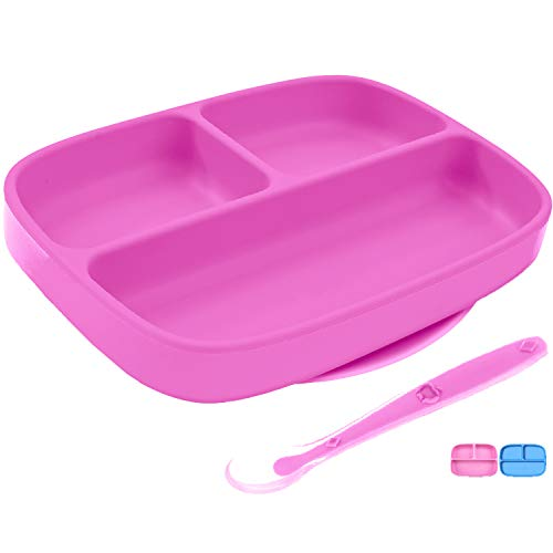 Silikong Suction Plate for Toddlers + Silicone Spoon | BPA Free, FDA Approved | Microwave, Dishwasher and Oven Safe | Stay Put Divided Baby Feeding Bowls and Dishes for Kids and Infants (Pink)