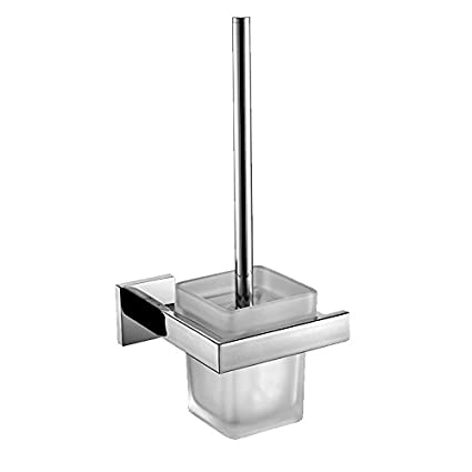 YUTU Q70 Contemporary Square 304 Stainless Steel Toilet Brush Holder  Polished Chrome Bathroom Accessories Wall Mounted