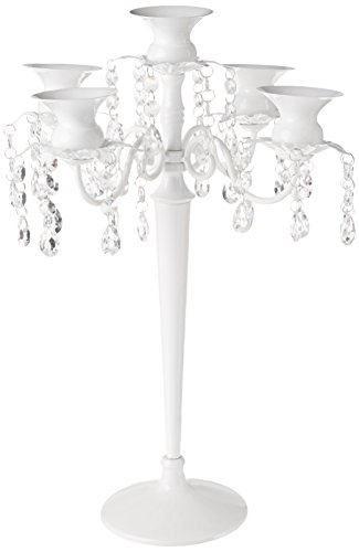 Galt International Beaded Candelabra Style Centerpiece, White