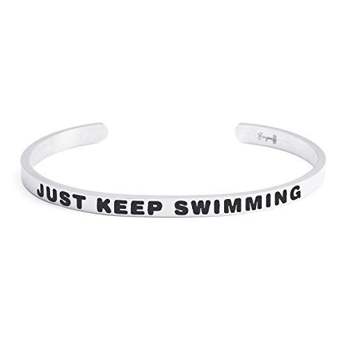 Joycuff Empowerment Bracelet Friend Inspirational Cuff Bangle Daily Reminder Mantra Just Keep Swimming by Joycuff