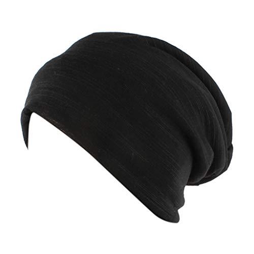 Fashion Solid Silk Casual Scarf Head Cap Cotton Muslim Hat Fold Cap Black